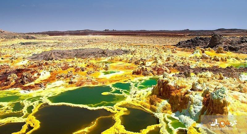 سفر به عجایب اتیوپی ، دالول؛ بیابانی آتش فشانی با بزرگترین حفره های آب گرم جهان