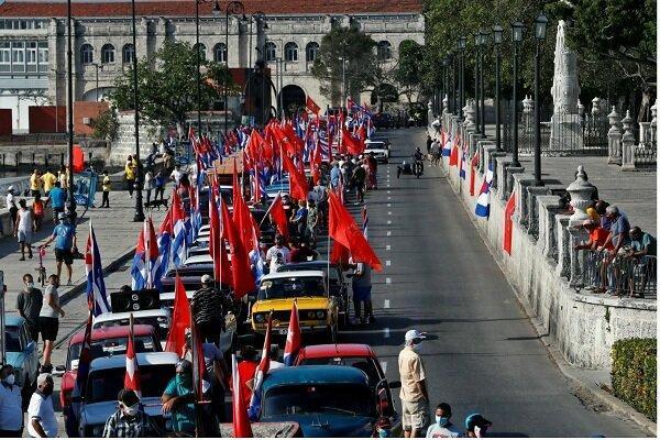 راهپیمایی اعتراض آمیز کوبایی ها علیه تحریم های آمریکا